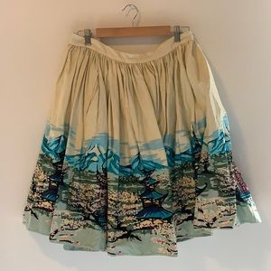 Collectif flared patterned skirt